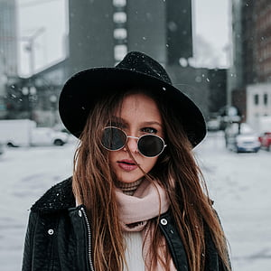 people, woman, beauty, fashion, shades, snow, cold