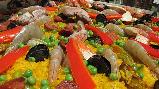paella, mat, reker, sjømat, spansk mat, deilig, tallerken