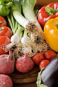 zelí, lilek, jídlo, čerstvosti, česnek pórek, zdravé stravování, Složka