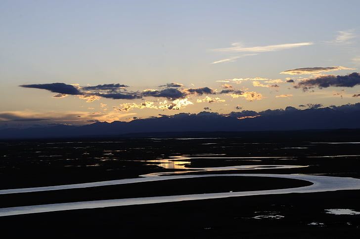 i xinjiang, turism, solnedgång, naturen