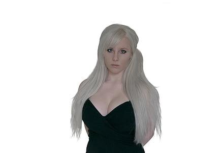 izolat, blonda, femeie, modelul, de sex feminin, fată, Doamna
