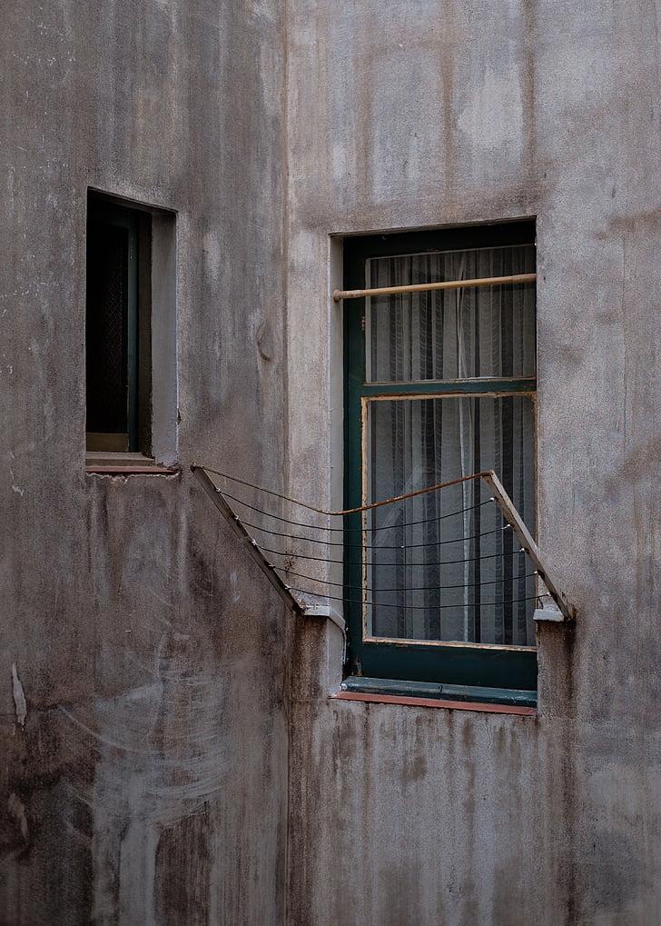 Architektura, budova, beton, dům, zeď, okno, mimo