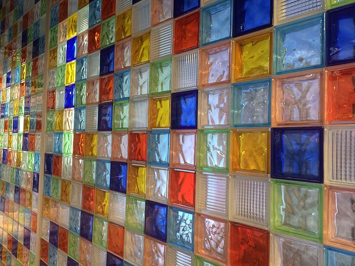 vetro, colori, pietre, pietre di vetro, parete, parete di vetro, colorato
