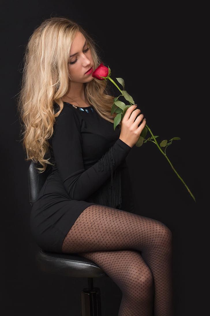 Děvče, mladý, Žena, Blondýna, růže, černá, mladá dívka