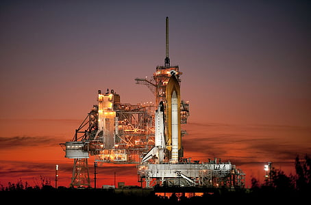 Atlantis, kosmosesüstik, raketi, algatada, õhtul, öö, Sunset