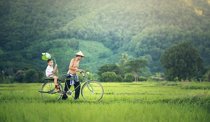 xe đạp, con trai của ông, chỗ ngồi, Campuchia, mối quan hệ, bàn tay, hai