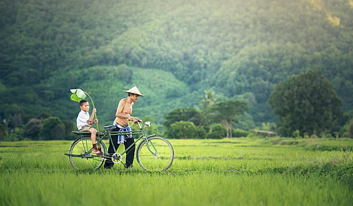 bicycle, his son, seat, cambodia, relationship, hands, two