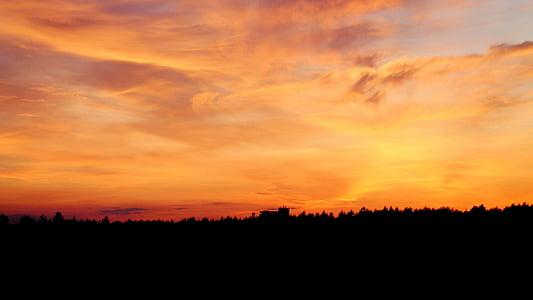 solnedgång, färgglada, kvällshimmel, Afterglow, abendstimmung, landskap, farbenpracht