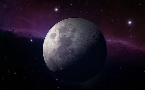 Lluna, Lluna plena, llum de lluna, estrella, boira d'estrelles, tancar, cel