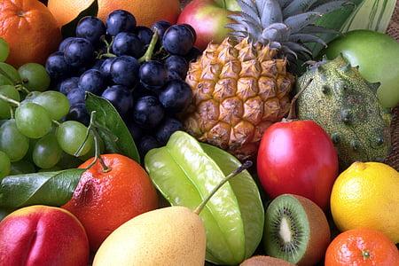 owoce, słodkie, owoce, egzotyczne, ananas, jedzenie, świeżość