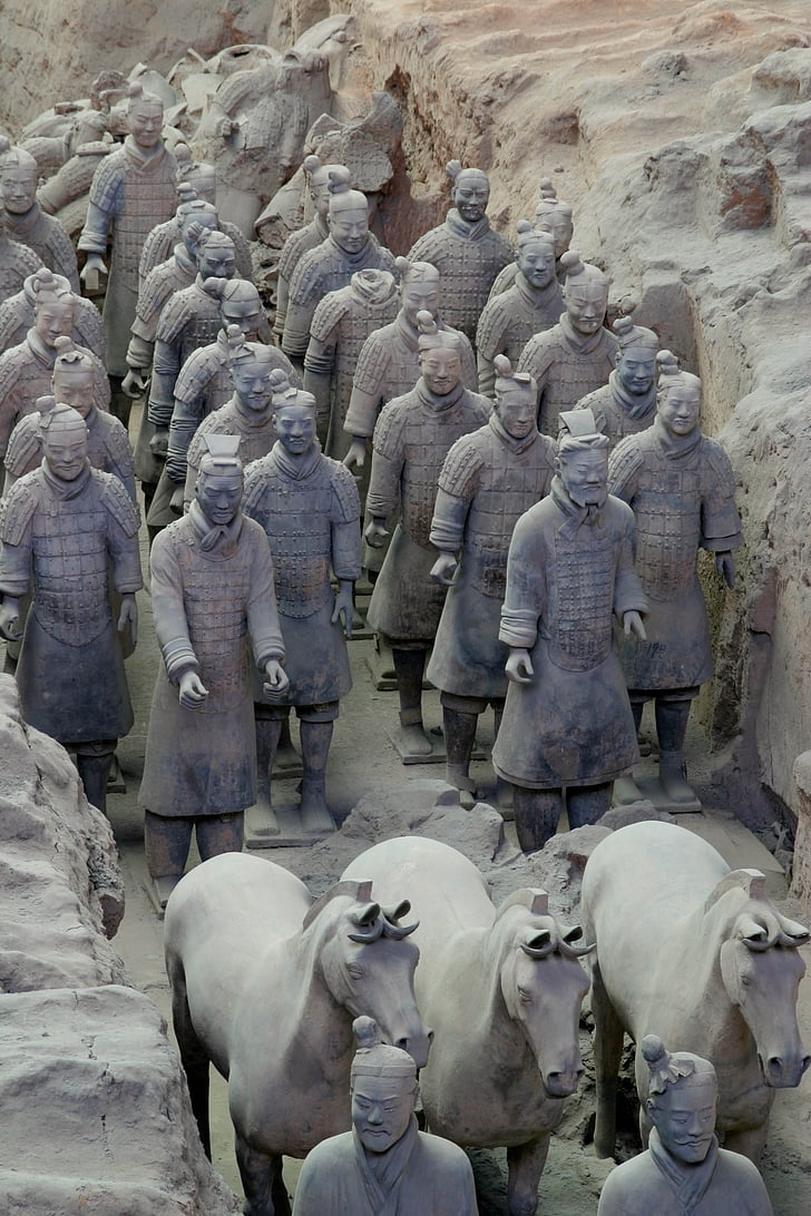terracotta, warrior, china, xian, sculpture, mythology
