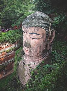 leshan gigants buddha, kultūra, statuja, cilvēki, tūristi, augi, atstāj