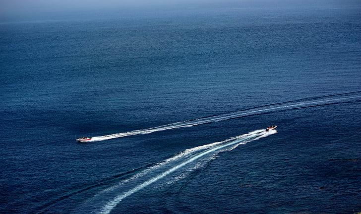 havet, segelbåt, blå