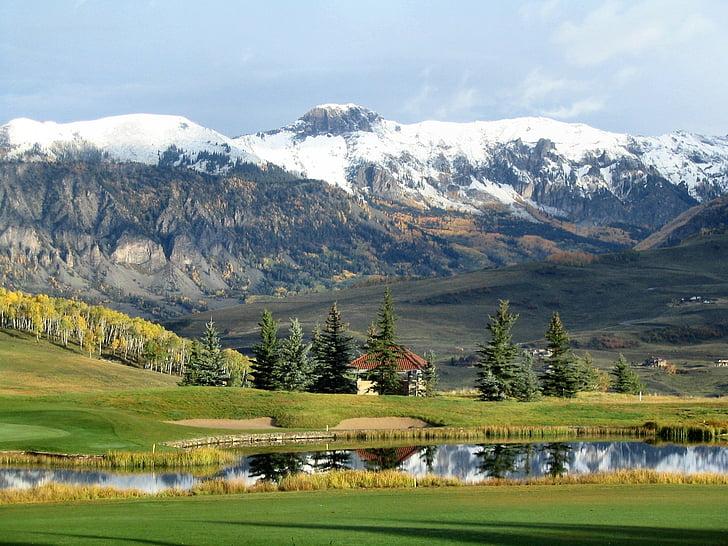 kalnų, tvenkinys, medžiai, sniego, žalia, balta, atspindys