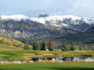 fjell, dammen, trær, snø, grønn, hvit, refleksjon