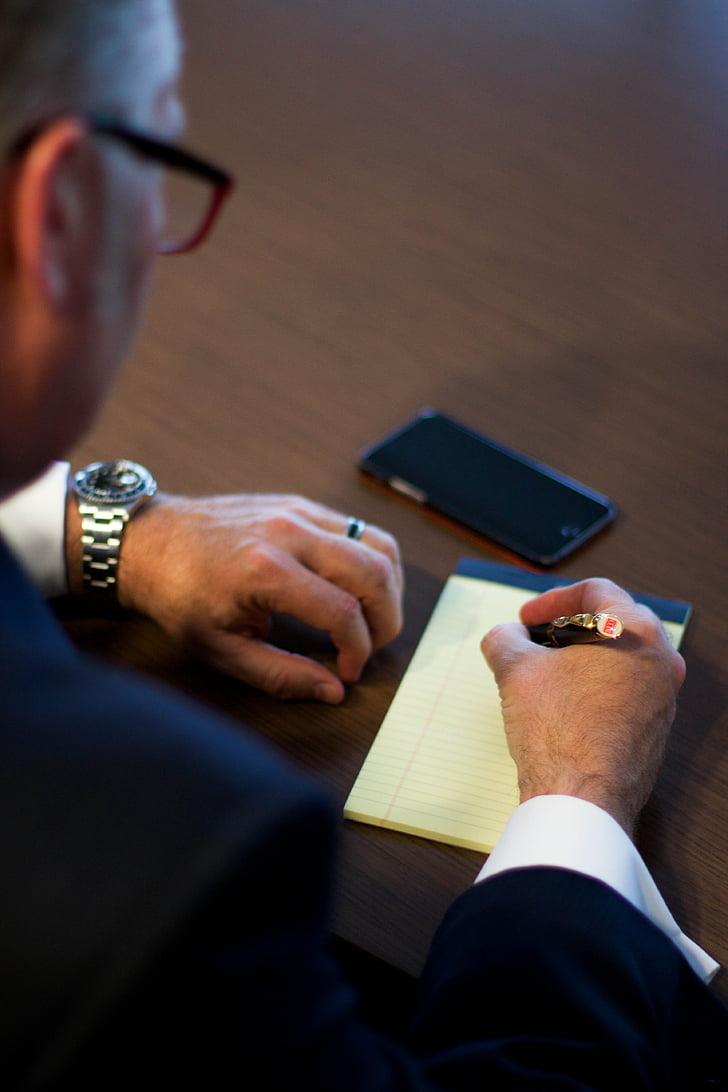 biznesmeni, rakstot, uzņēmējdarbības, vīrietis, rakstiski, biznesmenis, uzņēmējs, rakstāmgalds