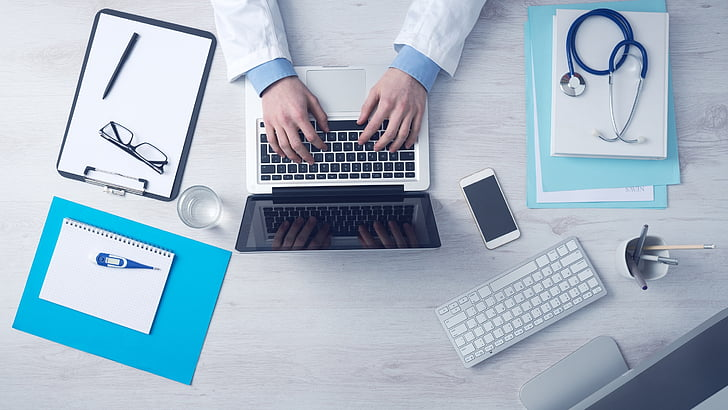 computer, business, typing, keyboard, laptop, doctor, medical care