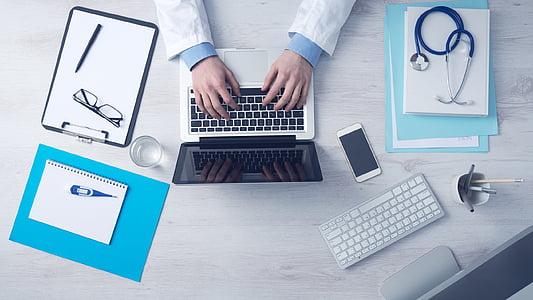 arvuti, äri, kirjutades, klaviatuuri, sülearvuti, arst, meditsiiniline abi