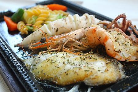 comida, delicioso, comida cozida, festa do mar