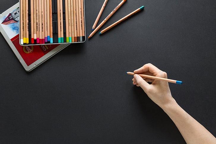 färgpennor, färgpennor, hand, papper, skriva