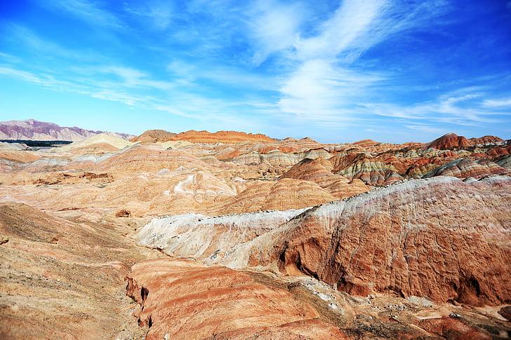 colorido, Zhangye, Modos de exibição, China, natureza, deserto, montanha