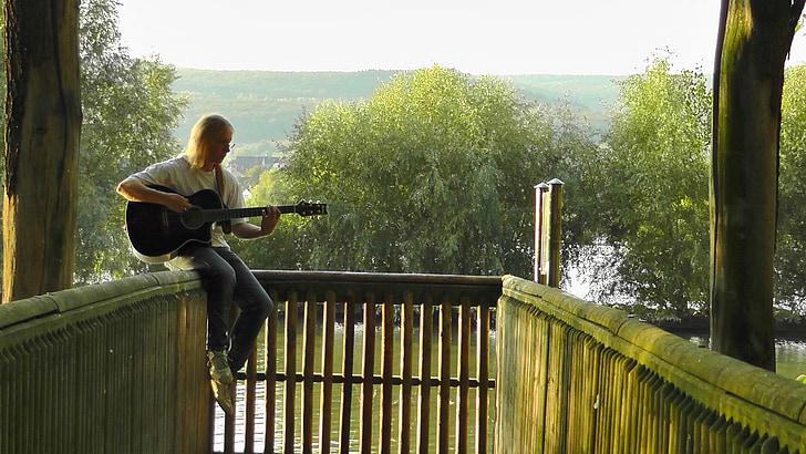 muzyk, gitara gracz, Poręcze, siedząc, dźwięk, Muzyka, Latem