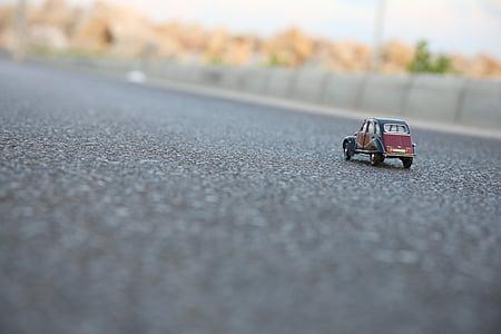 asfaltu, samochód, Citroen, miniaturowe, Ulica, Zabawka