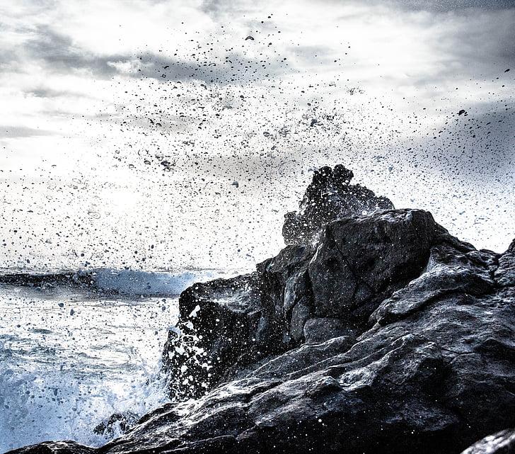 Lanzarote, el golfo, rock, vissza a fény, Surf, spray, tengerpart