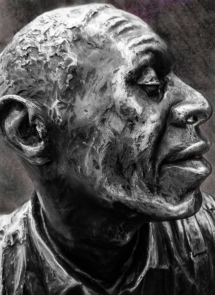 statue, sculpture, face, profile, nose, eyes, ears