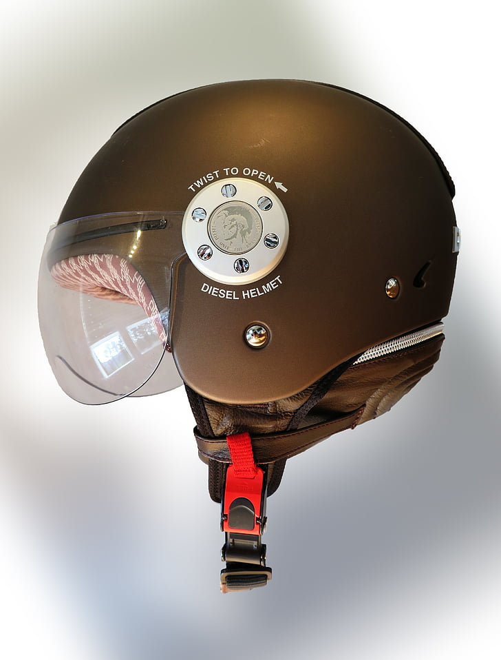 casque, brun, moto, accessoires, sécurité, protection, protection de la tête