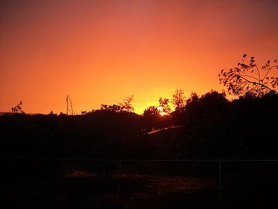 sunset, orange, yellow, black, landscape, red, sunlight