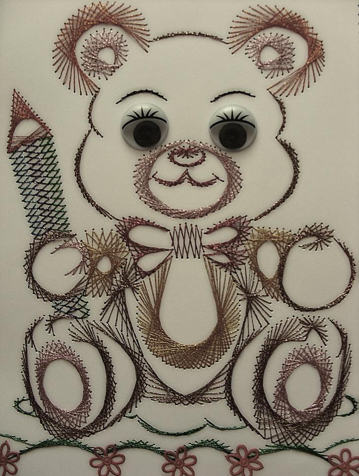 teddy bear, misiaczek, image, chit, children, a fairy tale, embroidery
