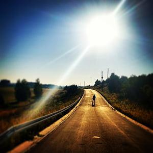 el sol, manera, carrer, home