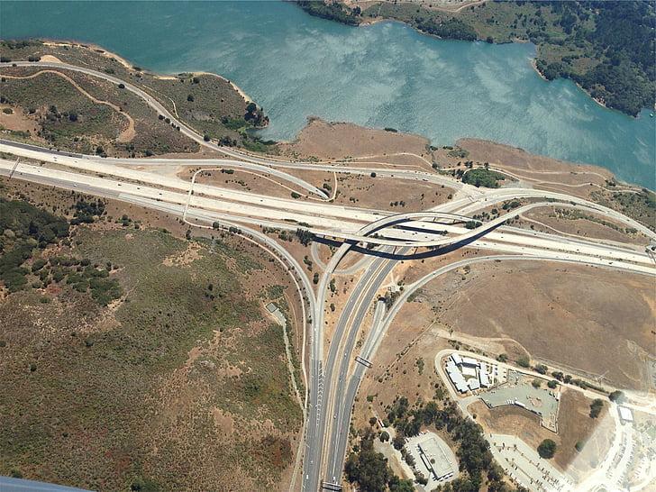 highways, ways, streets, roads, crossing, areal view, bridges