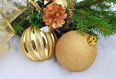 tahun baru, Natal, liburan, latar belakang, bola, pohon, salju