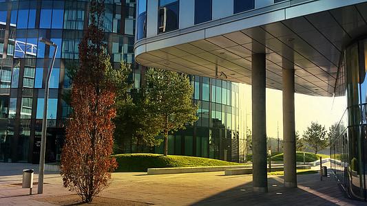 arsitektur, pohon, bangunan, modern