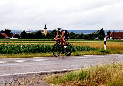 triatlon, triathlete, bicikliste, cestovni bicikl, bicikl, Erbach, dellmensingen
