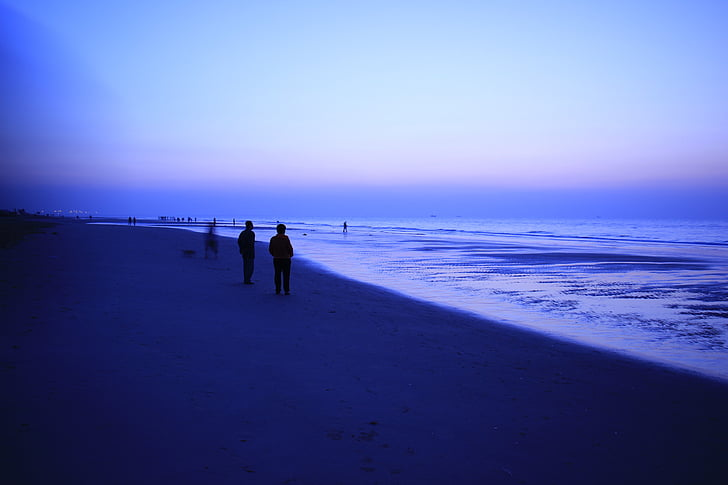 beach, dawn, visitors