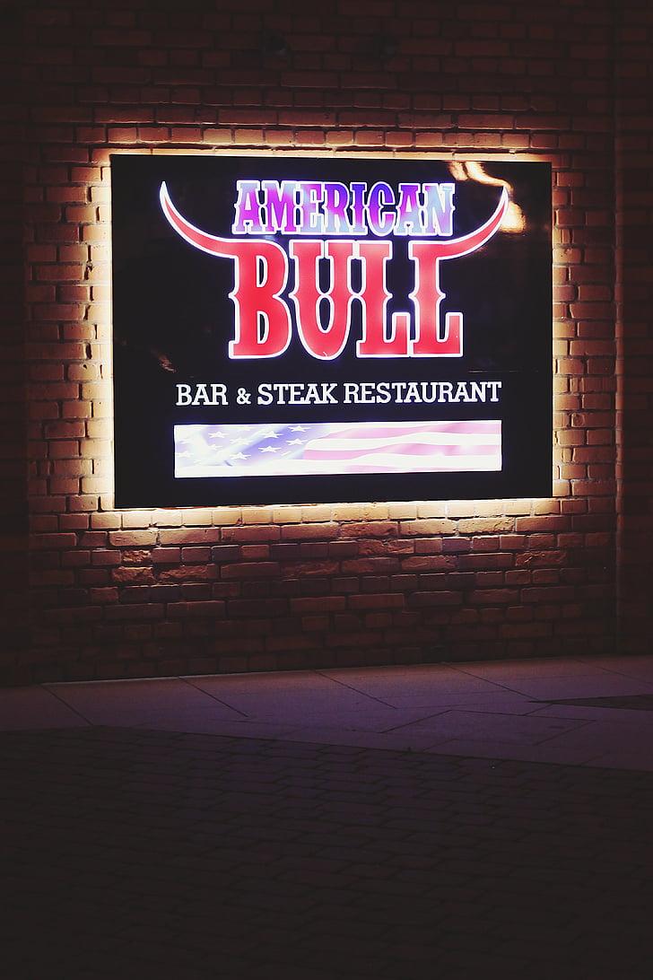 Ameerika, Bull, Baar, Restoran, tuled, Citylight, AD
