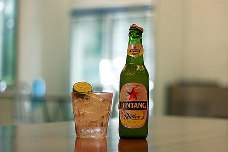 alkohol, pivo, napitak, Bintang pivo, boca, studen, hladno