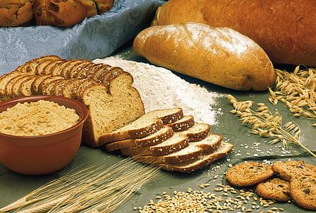 pães, cereais, aveia, cevada, trigo, farinha, pão de trigo integral