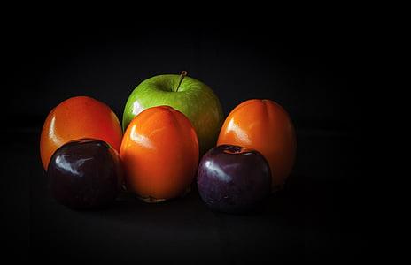 voće, mrtva priroda, jabuka, kaki, persimon, šljiva, Portiri