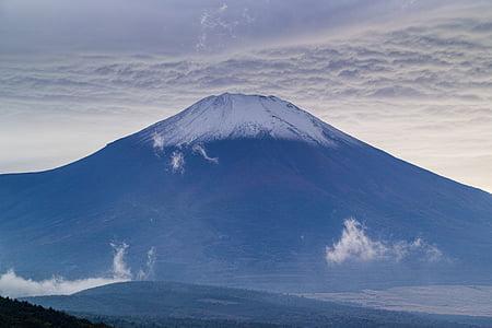 Fuji, céu, montanha, amanhecer, nuvens, vulcão, natureza