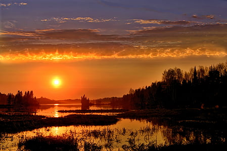 solnedgång, landskap, solen, moln, Twilight, sommar, sjön