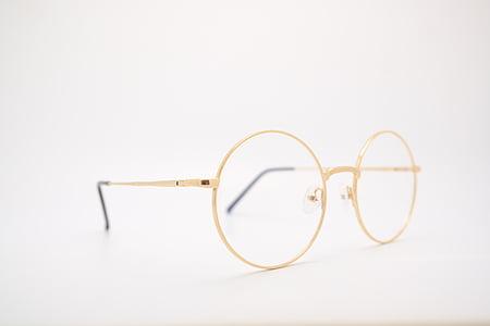 oro, colorato, metallo, telaio, chiaro, lente, rotondo