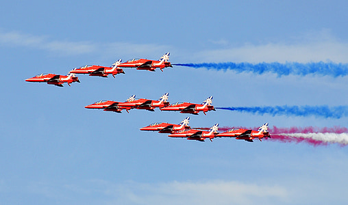 fighter jets, jet, airplane, aviation, formation, red arrows, plane