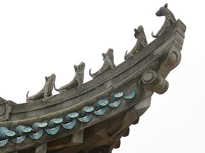 vent de Xina, edifici, ràfecs, sostre, estil asiàtic, Temple