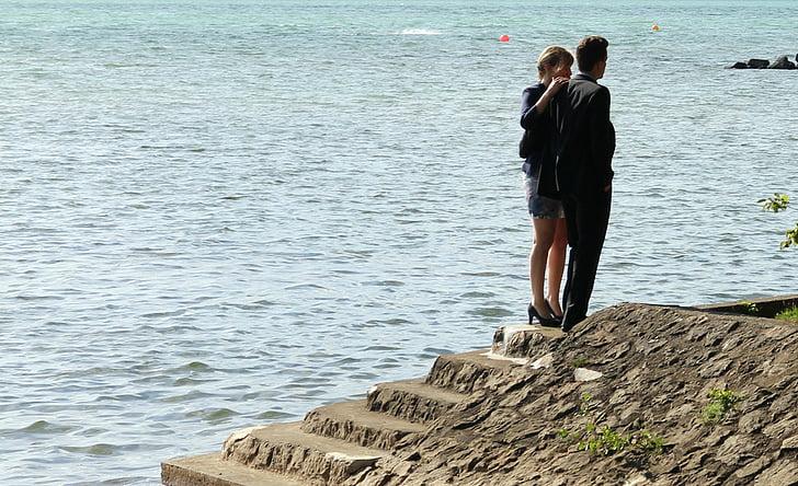 lovers, man, woman, personal, pair, lake, water
