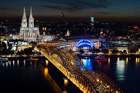 Cologne, Nhà thờ Cologne cathedral, Cầu Hohenzollern, Cologne vào ban đêm, Nhà thờ Cologne vào ban đêm, Bridge - người đàn ông thực hiện cấu trúc, chiếu sáng