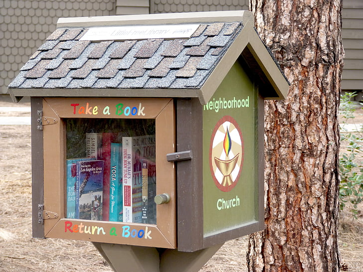 books, reading, little library, outdoor library, literature, library